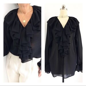 Exquisite Black Semi Sheer Ruffled Blouse